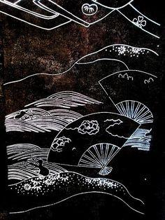 Vintage Japanese Katagami/Stencil for Kimono Fabric - Fan motif - dates from Showa Period