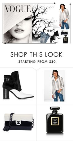 """""""Dressed Up Denim"""" by suzettestokes ❤ liked on Polyvore featuring Alexander Wang, Boohoo, J.Crew, Chanel and VALLEY"""