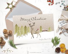 Printable Watercolor Deer Christmas Card - Holiday Card - 5 x7 - Do it yourself Printable Christmas Card by TheSpringRabbit on Etsy