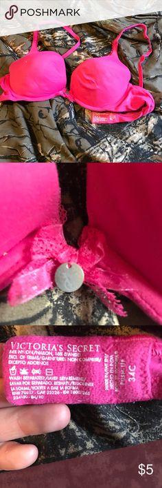 Pink Victoria's Secret bra 34c hot pink bra. Worn once. Victoria's Secret Intimates & Sleepwear Bras