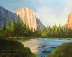 9 x 12 inches, oil on linen plein air panel. Merced River and El Capitan in Yosemite Valley Karen Winters Fine Art. Impressionist Landscape, Landscape Art, Landscape Paintings, Original Artwork, Original Paintings, Oil Paintings, Painting Art, Merced River, Daily Painters