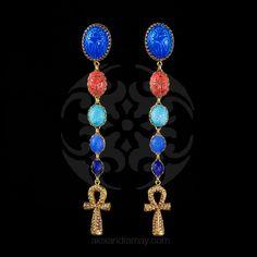 Askew London Egyptian Revival Ankh Scarab Long Clip-on Earrings (ASK50) | Alexandra May Jewellery