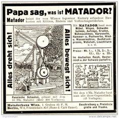 Original-Werbung/ Anzeige 1911 - MATADOR BAUKASTEN / KORBULY - WIEN - ca. 90 x 80 mm