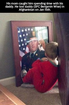 Spending Time With Dad. The result of our wars. Awww, how heartbreaking and beautiful at the same time.