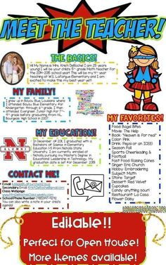 Meet the Teacher Newsletter Template EDITABLE- Superhero Meet the Teacher Newsletter- EDITABLE - Superhero theme! Perfect for back to school, open house or meet the teacher night! Editable and great for all subject areas and grade levels! Classroom Newsletter Template, Newsletter Templates, Teacher Newsletter, Newsletter Ideas, Superhero Classroom Theme, Classroom Themes, Seasonal Classrooms, Classroom Organization, Superhero Kindergarten