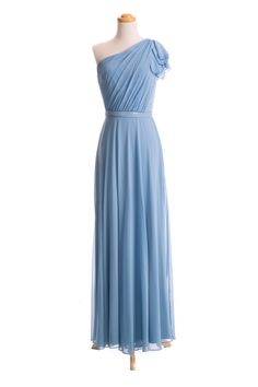 Flutter Sleeve Chiffon One Shoulder Dress with Sequin Belt by Dessy Collection // shopjoielle.com