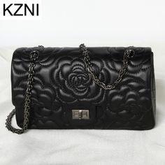 66.68$  Buy now - http://aliyg7.worldwells.pw/go.php?t=32788086067 - KZNI women genuine leather handbags black messenger bag women leather carteras mujer marcas famosas cuero genuino L010309