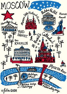 As I drew Moscow, it seemed to me to be a place that is both beautiful and barren. Grand, intimidating buildings dominate the skyline but so do fragile, glass. Bag Pattern Free, Cityscape Art, New Poster, Travel Themes, Travel Scrapbook, Vintage Travel Posters, Cartography, Gifts For Family, Illustrated Maps
