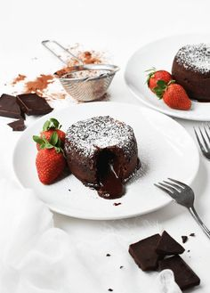 Make these decadent and delicious chocolate molten lava cakes for two in just 20 minutes. They are an easy and sophisticated dessert everyone will love. || The Butter Half