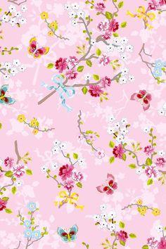 Afbeelding van Chinese Rose Roze behang roze