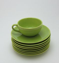 Set of 8 Malibu Modern Hollydale Pottery Chartreuse Green Coffee Tea Cup and Saucer 1950 Mid Century Mod on Etsy, $80.00