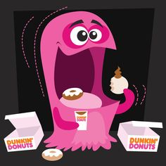 Illustration of a Dunkin Donuts monster I did- I wish we had Dunkin Donuts in Denver :( Halloween Clipart, Halloween Crafts, Monster Illustration, Illustration Art, Animated Cartoon Movies, Denver, Robot Monster, Coffee Latte Art, Real Monsters
