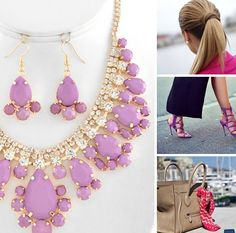 Outfit with statement lilac necklace