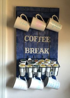 DIY Pallet Coffee Station... I would add an older wire basket and redo the lettering. Pretty cute!