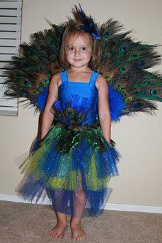 Hannah's homemade peacock costume!