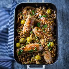 Sausages with braised lentils, lemon and green olives   Recipes   Pick n Pay Online Shopping Lentils And Sausage, Olive Recipes, Sausages, Olives, Olive Green, Online Shopping, Recipies, Dinners, Dinner Recipes