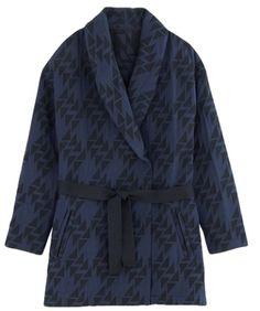Manteau kimono en jacquard noir et bleu Promod