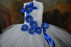 Image detail for -Baby Tutu Dress with Royal Blue Flower Bows
