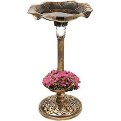 Shopping Cart Bird Bath Fountain, Bird Bath Garden, Garden Planters, Solar Led Lights, Leaf Bowls, Bowl Designs, Decoration, Outdoor Gardens, Beautiful Flowers