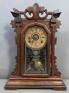 Overall in solid EMT condition with no structural issues to report. The pendulum is present, there is no key. Minor age where to the original finish. Overall a nice estate fresh clock that is ready for display. Old Kitchen, Victorian Era, Mantle, Clocks, Carving, Age, Display, Fresh, Antiques