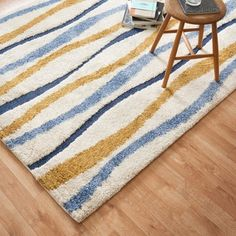 Carson Carrington Falkoping Blue/Gold Wavy Stripe Shag Area Rug - x (Ivory/ Multi ) Yellow Area Rugs, Orange Area Rug, Earth Tone Colors, Area Rugs For Sale, Home Rugs, New Blue, Outdoor Area Rugs, Online Home Decor Stores, Stripes Design