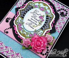 Close up of Spring Rose Medallion card designed by Sheri Holt