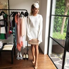 """""""My @malverncentral Spring Racing dress guide is up on the website now. This all white outfit is  for derby! Head to the blog for more details…"""""""