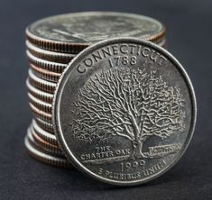 The 1999 Connecticut state quarter can be really valuable, especially if it's a Connecticut quarter error! See how much your Connecticut quarters are worth. Rare Coin Values, Old Coins Worth Money, Old Coins Value, Penny Values, Rare Pennies, Coin Dealers, State Quarters, Valuable Coins, Coin Prices