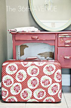 mod podge fabric suitcase...just brilliant...Desiree NEVER disappoints!
