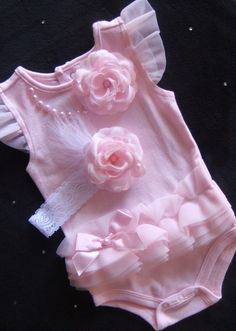 NEWBORN baby girl take home EASTER outfit pale PINK ruffled onesie pearl accent over sized flower matching headband