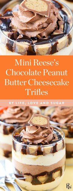These mini Reese's chocolate peanut butter cheesecake trifles by Life, Love and Sugar are to die for. Get this and more gorgeous trifle recipes that are easy to whip up and sure to please this holiday season.
