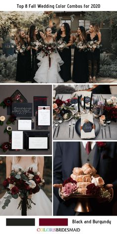 Top 8 Fall Wedding Color Combos for Black + Burgundy. burgundy wedding Top 8 Fall Wedding Color Combos for 2020 Burgundy Wedding Colors, Burgundy Bouquet, Fall Wedding Colors, Wedding Color Schemes, Burgundy Tie, Fall Wedding Themes, Wedding Color Palettes, Black Bouquet, Wedding Flowers