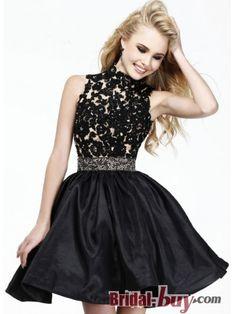 Unique Design Sexy Princess Scoop Lace Appliques Short Black Taffeta Homecoming Dress