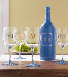 Monogramed Wine Bottle and Glasses