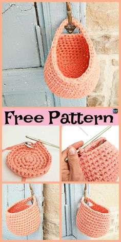 15 Useful Crochet Hanging Basket - Free Crochet - Diy Crafts Crochet Diy, Crochet Simple, Crochet Storage, Crochet Video, Crochet Pouch, Crochet Bags, Crochet Animals, Free Crochet Bag, Crochet Market Bag