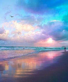 Wonderful Places: Cotton candy sunset at Gold Coast - Australia ✨💖💜💖✨ Picture by ✨✨ . Beautiful Sunset, Beautiful Beaches, Beautiful World, Landscape Photography, Nature Photography, The Beach, Beach Walk, Sky Aesthetic, Beach Scenes