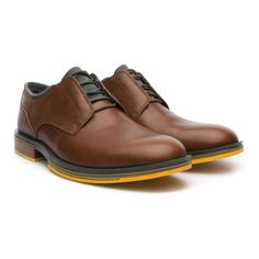 77ca8d2926b8 Deia Derby is a gentleman s shoe with a pop of rebellion  yellow peeps  through the