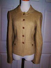 Ann Taylor Loft Beige Camel Tweed Wool Blend Peplum Blazer Jacket Size 8