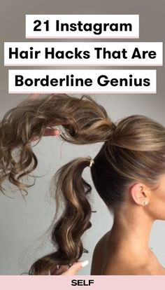We rounded up the best of the best from and here are 21 hair hacks that every girl should know. We ve got tricks for growth, shine, curl, and more. Plus most of them are pretty easy to do! Medium Hair Styles, Curly Hair Styles, Natural Hair Styles, Long Hair Ponytail Styles, Easy Updos For Long Hair, Long Ponytails, Easy Updo Thin Hair, Casual Updos For Medium Hair, Medium Length Hair Updos