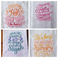 Tea Towel Linens with Machine Embroidery by embroiderybybeverly