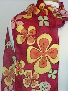 Mod Floral Women's Hand Painted Silk Scarf, Retro Flowers, Bold by FlingamoScarves on Etsy
