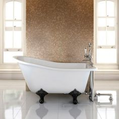 ONLY Burlington Buckingham Slipper Bath with Traditional Legs, Cheapest price in the UK guaranted, Order your Burlington Buckingham bath here on special offer, Buckingham bath Attic Bathroom, Bathroom Bath, Family Bathroom, Bathroom Ideas, Bathroom Inspiration, Bath Mixer Taps, Bath Taps, Mini Bathtub, Clawfoot Bathtub