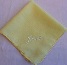 Janet Monogram Hanky Vintage Handkerchief White Embroidery on