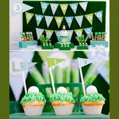 Golf...or use the same idea on the cupcakes for baseballs!