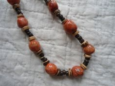 Orange Turquoise magnesite Beaded Necklace by LandofBridget, $15.00