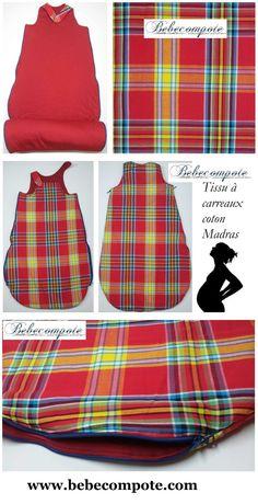 Cadeau naissance gigoteuse 100% tissu carreaux madras 100% coton pregnancy sleeping bag baby bedroom gift fabrics kado http://www.bebecompote.com