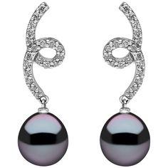 Yoko London Tahitian Pearl Earrings in White Gold with White Diamonds | 1stdibs.com