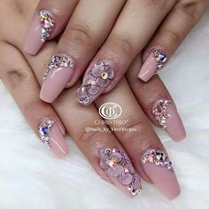 "The world of beauty is constantly evolving, and acrylic nails are no different. nail designs basically say, ""I'm cool as sh*t. 3d Acrylic Nails, Acryl Nails, 3d Nails, Fabulous Nails, Gorgeous Nails, Pretty Nails, Sexy Nails, Fancy Nails, Rhinestone Nails"