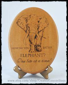 ELEPHANT How Do You Eat An Elephant One Bite by CreatedConcoctions