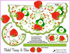 Strawberry teacup tea cup favor gift box and decoupage 2 Box Template Printable, Templates, Paper Tea Cups, Teacup Crafts, Strawberry Shortcake Party, Tiny Gifts, Tea Box, Craft Fairs, Handmade Crafts